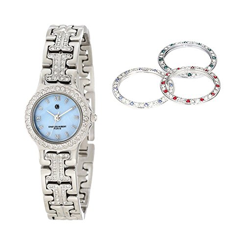 Light Blue Mop Dial With 4 Changeable Bezels Watch by Charles Hubert Paris Watches, Free Gift Box ()