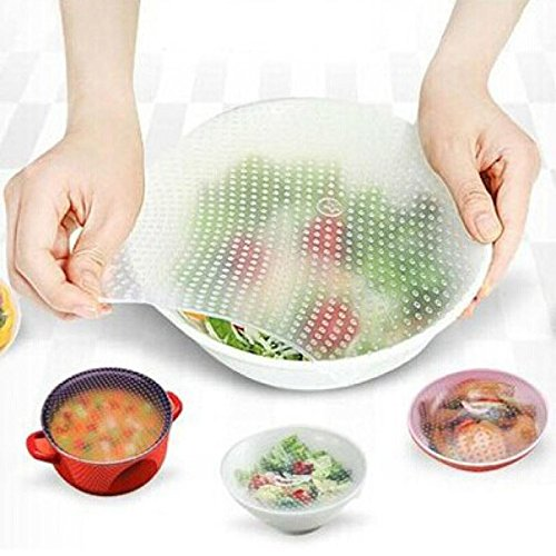 Price comparison product image Owill Versatile Silicone Food Wrap Reusable Seal Cover Stretch Fresh Kitchen Tools (S, White)