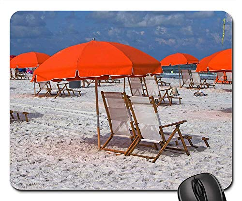Mouse Pads - Clearwater Beach USA Umbrella and Chairs White -