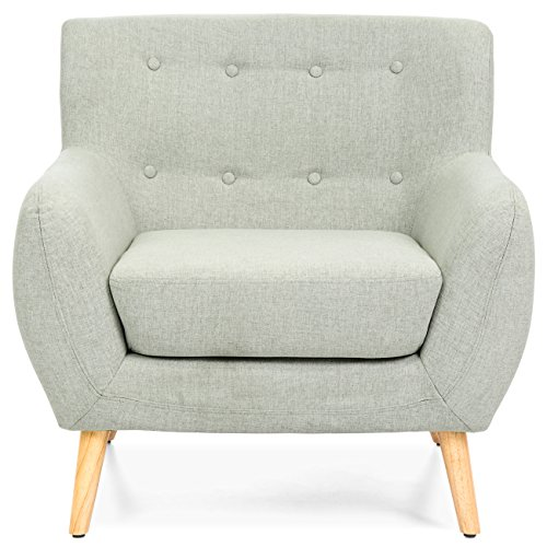 Best Choice Products Mid-Century Modern Linen Upholstered Tufted Accent Chair (Light Gray)