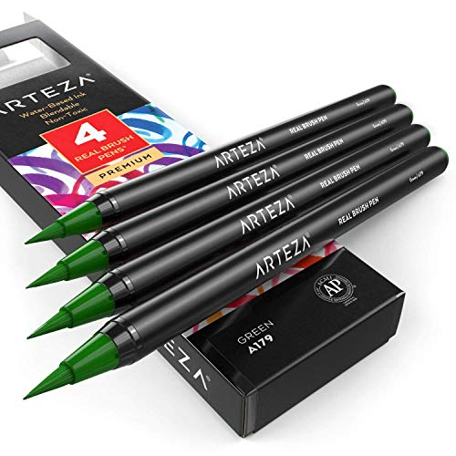 ARTEZA Real Brush Pens (A179 Green) Pack of 4, for Watercolor Painting with Flexible Nylon Brush Tips, Paint Markers for Coloring, Calligraphy and Drawing