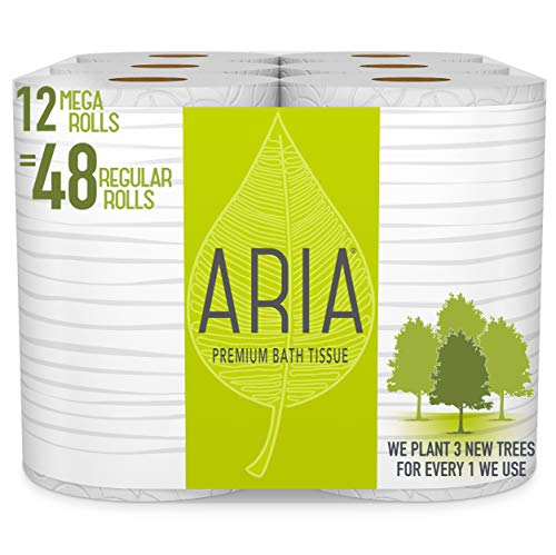 Aria Premium, Earth Friendly Toilet Paper, 12 Mega Rolls, 12 = 48 Regular Rolls, Eco Friendly Bath - Paper Toilet Tree