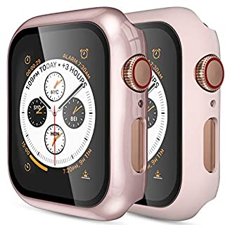 (2 Pack) GEAK Hard Case for Apple Watch 38mm Series 3 with Screen Protector, Full Body Protective Bumper Case Cover for iWatch Series 3/2/1, Rose Gold/Matte Pink