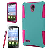 Alcatel One Touch Pop Icon 2 LTE Slim Hybrid Case, The3Knights[TM] Slim Dual Layer Hybrid Cover Case + The3Knights[TM] Touch Screen Stylus and SCREEN PROTECTOR (Teal+Hot Pink)