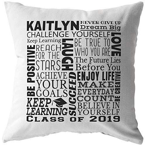 Custom Graduation Gift Graduate Name And Date Personalized Throw Pillow (16 x 16, Stuffed & Sewn)