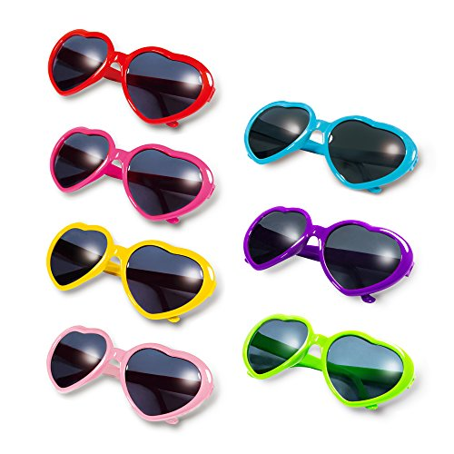 Gyaya Neon Colors Party Favor Heart Shape Sunglasses (7 Pack Rainbow Set) (Multicolor) by GYAYA