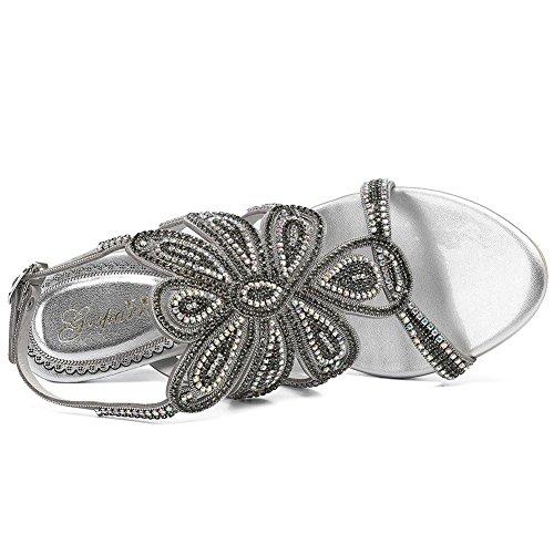 Silver Sandalias Vestido Abierta Bomba Punta Silver silver Mujeres Talón Zhang8 Rhinestone 36 Cuero zqTUgZH