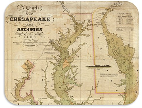 Trays4Us Chesapeake Bay Delaware Bay Nautical Chart 1840 Birch Wood Veneer 16x12 inches (Large) TV/Serving Map Tray - 100+ Different Designs (Chart Autumn)