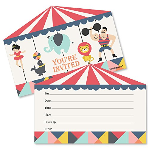 Carnival - Cirque du Soiree - Shaped Fill-in Invitations - Baby Shower or Birthday Party Invitation Cards with Envelopes - Set of 12 ()