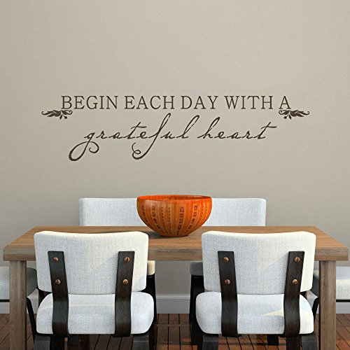 MairGwall Home Decor Begin Each Day With A Grateful Heart Inspirational Quote Decal Dining Room Wall GraphicsDark Brown Large