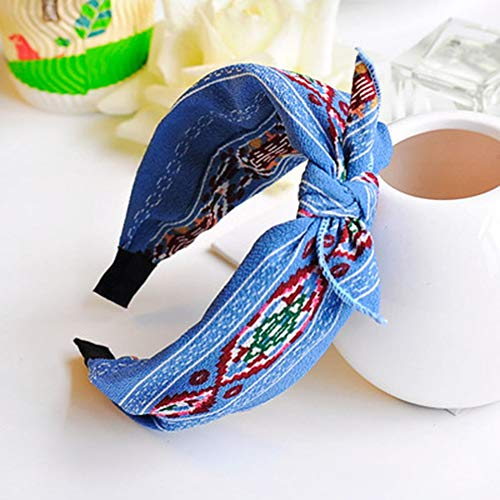 Sweet Headbands for Women Vintage Flower Printed Criss Cross Elastic Head Wrap Twisted Cute Hair Band