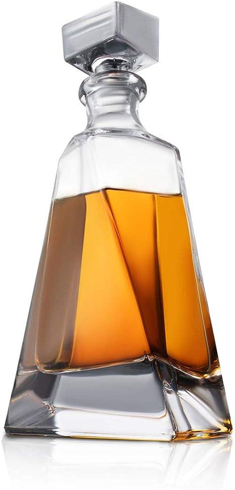 Atlas Whiskey Decantador de whisky – 22 oz Crystal Modern Decantador – no plomo pequeño licor decantador con tapón – Booze Decantador para whisky, ...