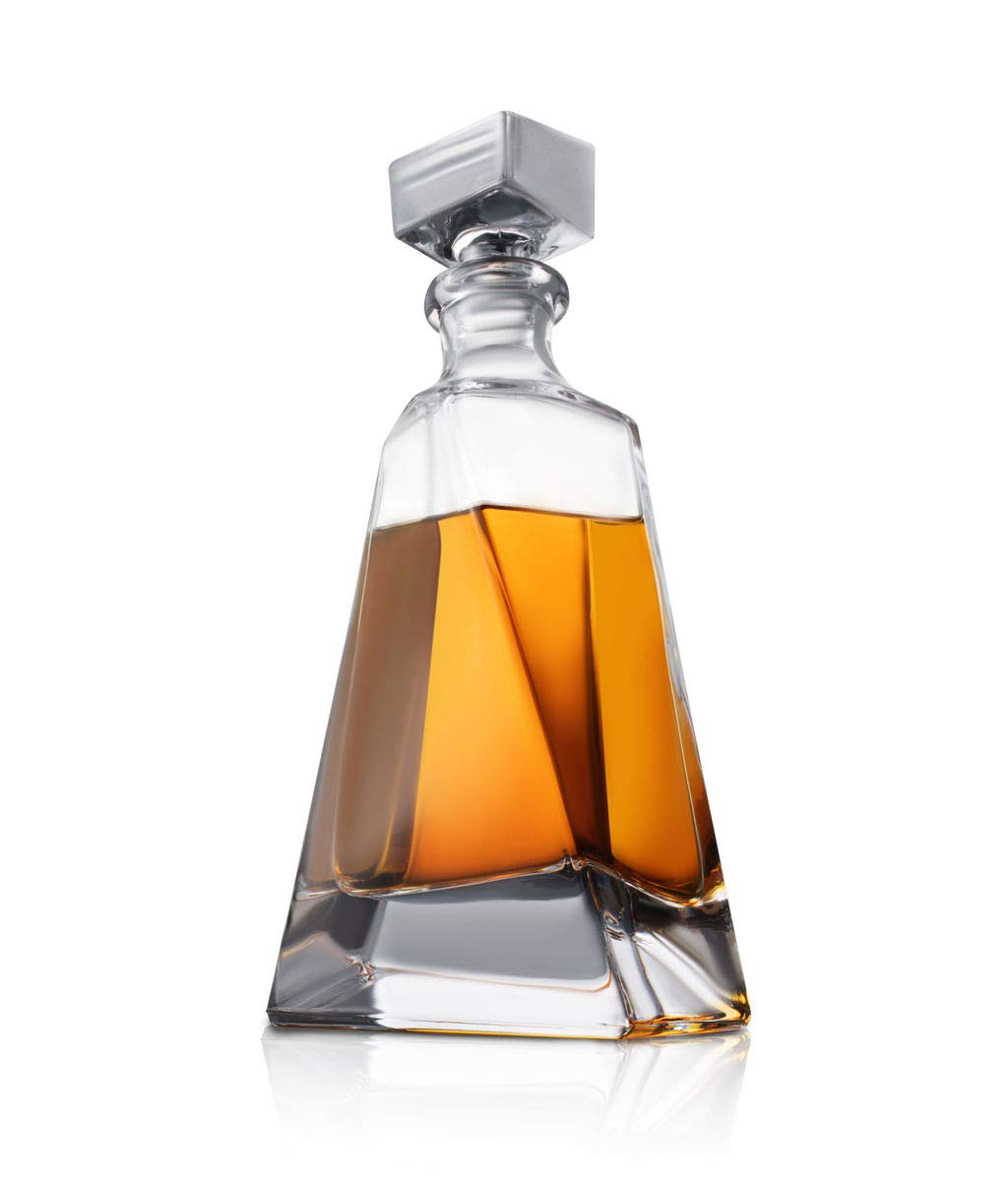 Atlas Whiskey Decanter Brandy Booze Decanter for Whiskey 22 oz Crystal Modern Decanter Non-Lead Small Liquor Decanter with Stopper and Rum Bourbon Scotch Bar Container Liquor