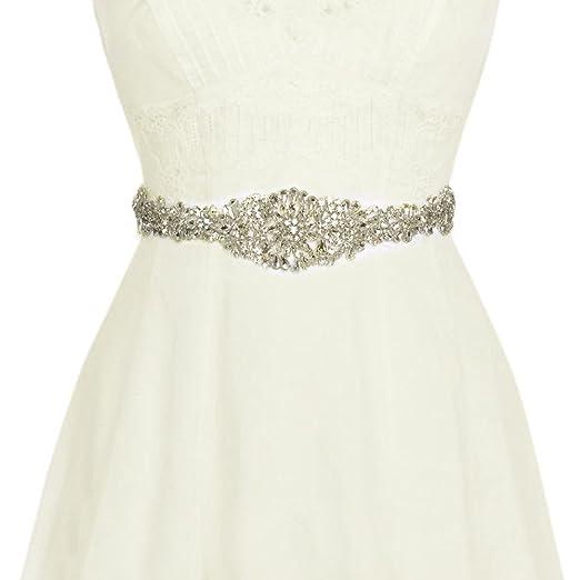 Vococal - Boda Vestido Faja Cintura Cinturón Cinta de Raso de Brillantes Diamantes de Imitación de Novia para Mujer, Blanco: Amazon.es: Ropa y accesorios