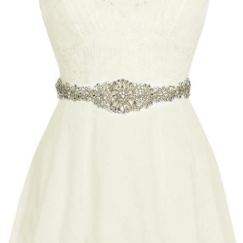 Vococal - Boda Vestido Faja Cintura Cinturón Cinta de Raso de Brillantes Diamantes de Imitación de