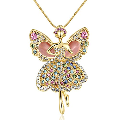 Starshiny Daughter Necklace Multicolor Crystal Ballerina Dancer Opal Wings Angel Pendant Necklace Childrens Day Gift