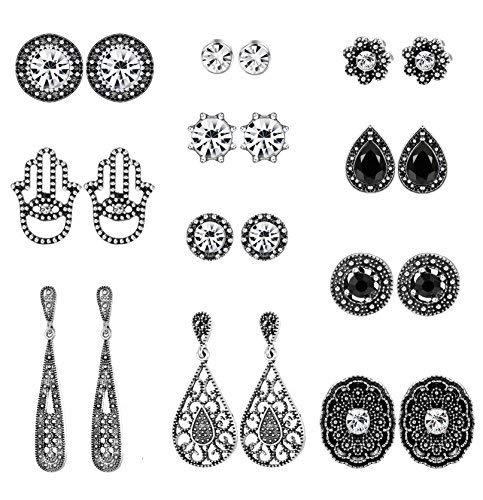 Milacolato Boho Stud Earrings Bohemian Retro Vintage Earrings Sets for Women Girls Assorted Multiple Mixed