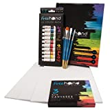 Acrylic Paint Set -12 Acrylic Paints, 6 Paint Brushes for Acrylic Painting, 3 Painting Canvas Panels - Premium Art Supplies for Adults Canvas Painting - Kids Paint Set - Paint Brush Set - Paint Kit