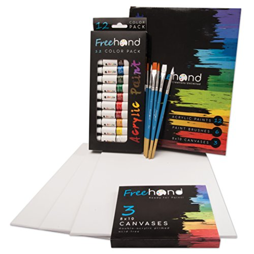 Acrylic Paint Art Set - 12 Acrylic Paint Tubes - 6 Paint Brushes - 3 Painting Canvases - Art Supplies for Teens, Adults & Kids