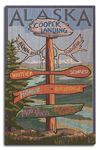 Hanging Whittier - Lantern Press Kenai River, Alaska - Sign Post (10x15 Wood Wall Sign, Wall Decor Ready to Hang)