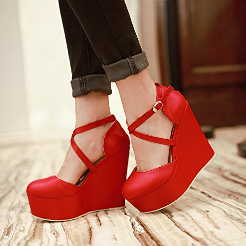 KHSKX-Summer Wedges Muffin Bottom Female Thick Soled Shoes Red Wedding Shoes High-Heeled Shoes Over The Bride gules Mzek3AJ4k