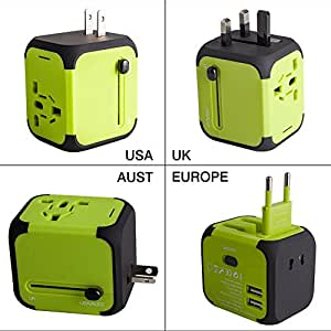 Travel Adapter Uppel Dual USB All-in-one Worldwide Travel Chargers Adapters for US EU UK AU about 150 countries Wall Universal Power Plug Adapter Charger with Dual USB and Safety Fuse (Green)
