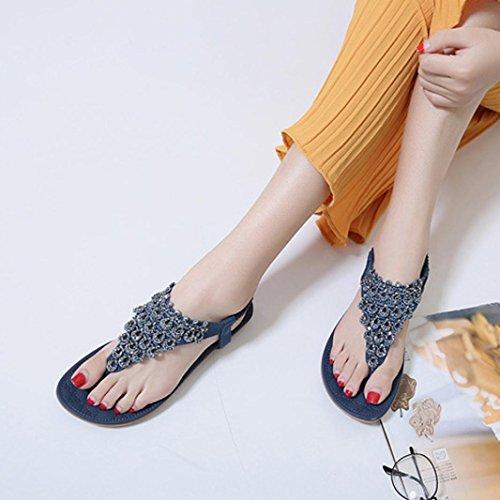 Sandali Piatti Donna Inkach - Sandali Estivi Di Moda Bohémien Sandali Con Infradito Slipper Blu