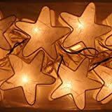 Handmade Set of 20 White Star Mulberry Paper String Lights for Home Decor/ Night Light Party By Jakapan