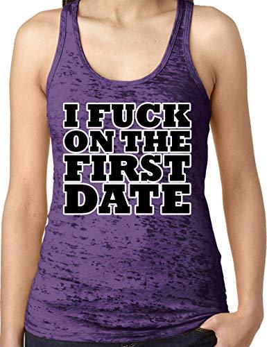 (Amdesco Ladies I Fuck On The First Date Burnout Racerback Tank Top, Purple Rush Large)