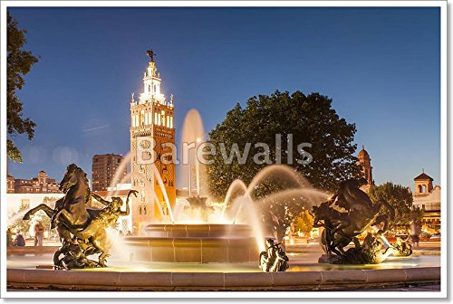 Kansas City Missouri Fountain At Country Club Plaza Paper Print Wall Art (24in. x - Plaza Kc Country Club