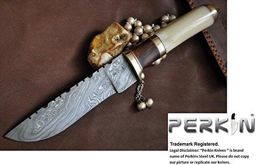 Cheap SALE IS NOW N. Custom Handmade Damascus Hunting Knife – Bowie Knife – Bone & Burl Wood Handle