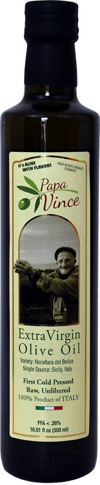 Papa Vince Olive Oil Extra Virgin - First Cold Pressed, Family Harvest Single Sourced from Sicily, Italy, Unblended, Unfiltered, Unrefined, Robust, Rich in Antioxidants 16.9 fl oz