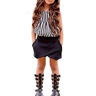 1e5904db4cf92 Amlaiworld ❤️Ensembles de Bébé Filles Enfants Bébé Filles Outfit Vêtements  Rayé T-Shirt Tops