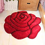 3D Round Roses Mats Living Room Colorful Rose Area Rug for Girls/Women/Ladies - MAXYOYO Polyester Beautiful Rose Round Carpet Rug Floor Mat, Diameter 47.2 Inch