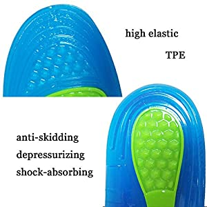 Sports Insoles for Shock Absorption Comfort Massaging Gel Silicon Insole for Running, Hiking