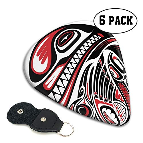 Guitar Picks 6 pcs,Haida Style Of Animal Art Wild Ethnic Eagle And Killer Dog With Sharp Teeth Theme Print