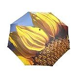 Yochoice Easy Carrying Folding Umbrella,Cute Sunflower Floral,Compact Windproof Travel Rain Umbrella Pattern 100