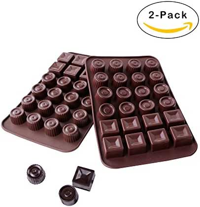 Webake 2-pack Silicone Chocolate Mold, 3 Shape Candy Molds (24-cavity)