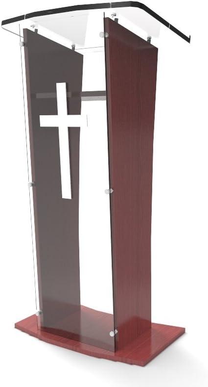 FixtureDisplays Acrylic Podium Lectern Pulpit Plexiglass Lucite Clear Wood Shelf Frame with Cross Decor-Ship UNASSEMBLED/Flat 1803-5+1803-CROSS-NEW-NF