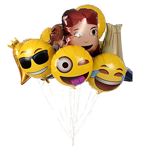 Foil Emoji Helium Balloons, 12 Pack