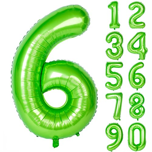40 Inch Green Large Numbers 0-9 Birthday Party Decorations Helium Foil Mylar Big Number Balloon Digital 6
