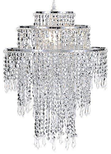 Waneway Large 3 Tiers Silver Sparkling Beads Pendant Shade, Ceiling Chandelier Lampshade with Acrylic Jewel Droplets, Beaded Lampshade with Chrome Frame and Sparkling Beads, Diameter 12.6'', Silver ()