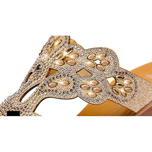 De Sandalias QNML Chanclas Diamantes Y Bohemia Desgaste Imitación 5968 Sandalias Resistente Mujer Verano Al Cuña KJJDE Gold Transpirable De awRn6q0