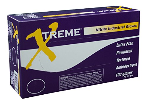 AMMEX - XN46100 - Nitrile Gloves - Xtreme - Disposable, Powdered, Industrial, 4 mil, Large, Blue (Case of 1000) by Ammex
