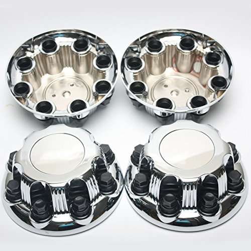 Center Caps for Chevy & GMC 8 Lug Nuts, 4pc Set of Chrome Auto Hub Covers, OEM Genuine Factory Aftermarket Replacement, Easy Bolt On - Fits 16