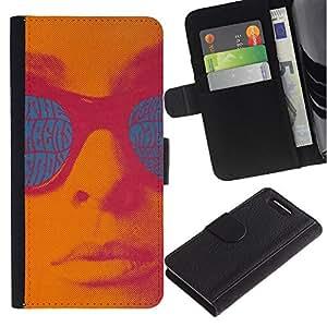Planetar® Modelo colorido cuero carpeta tirón caso cubierta piel Holster Funda protección Para Sony Xperia Z1 Compact / Z1 Mini / D5503 ( Retro Vintage Text Teal Pink Lips Sun )