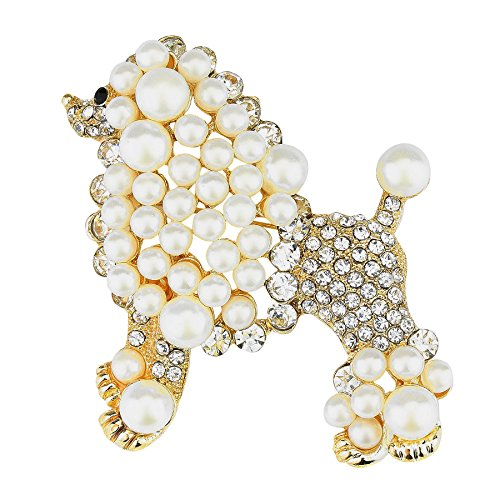 WT Jewelry Sigma Gamma Rho Inspired Gold Toned Pretty Poodle Crystal Brooch - Pearl Poodle