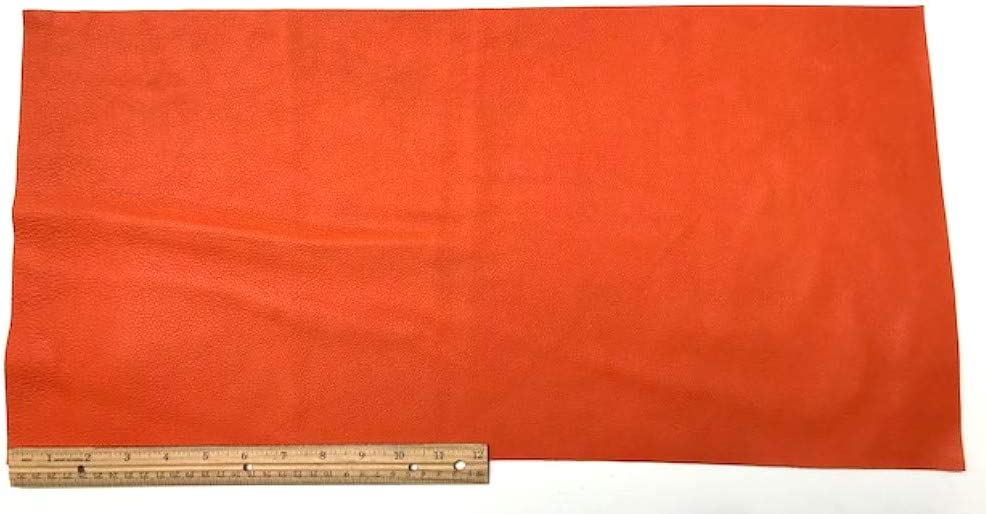 2 Square Feet Upholstery Leather Piece Cowhide Bright Orange 12 x 24 Light Weight