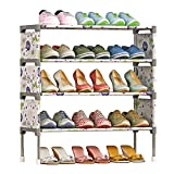 FKUO 4-Tier Shoe Rack Organizer Storage Bench - Holds 12 Pairs - Organize Your Closet Cabinet or Entryway - Easy to Assemble - No Tools Required (Lotus flower)