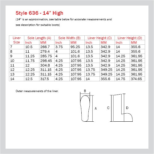 636 BOOT LINER - 14'' HIGH, SIZE 9 (6 PAIRS/CASE)